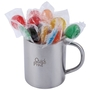 Assorted Colour Lollipops in Double Wall Stainless Steel Barrel Mug