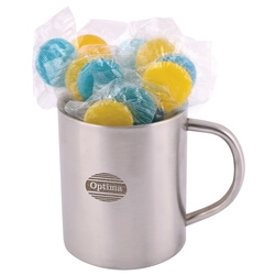 Corporate Colour Lollipops in Double Wall S/S Barrel Mug