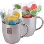 Corporate Colour Lollipops in Stainless Steel Double Wall Curved Mug