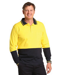 Cotton Jersey Two Tone Long Sleeve Safety Polo