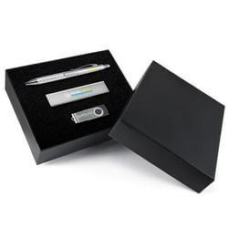 Superior Gift Set - Bling Pen Velocity Power Bank Swivel Flash Drive